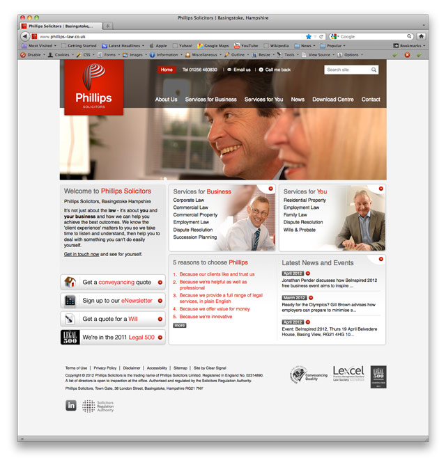 Clear Signal rebrand and visual identity for Phillips Solicitors, Basingstoke - website homepage design