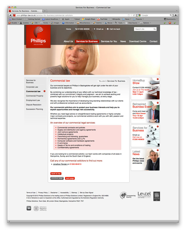 Clear Signal rebrand and visual identity for Phillips Solicitors, Basingstoke - further website content page design