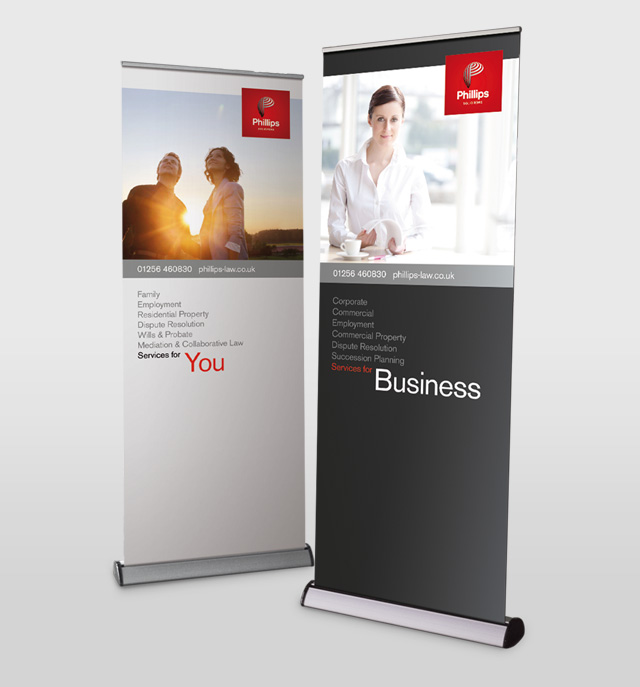 Clear Signal rebrand and visual identity for Phillips Solicitors, Basingstoke - pull up exhibition stand design